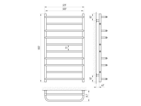 Электрический полотенцесушитель Aquanerzh скоба прямая белый 176 Вт 900x500