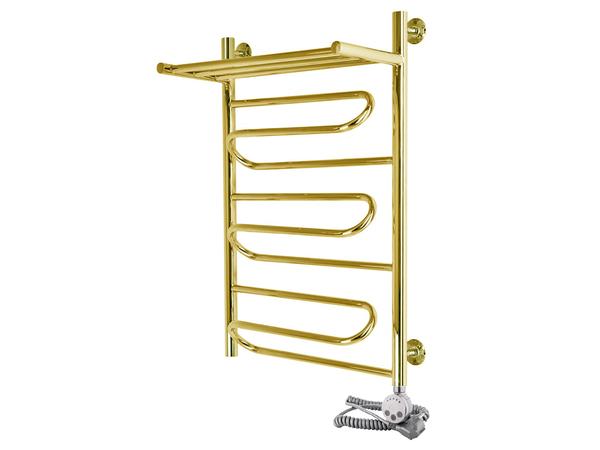 Электрический полотенцесушитель Aquanerzh зиг-заг с полкой золото