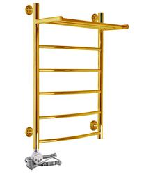 Электрический полотенцесушитель Акванерж дуга с полкой золото (левое подключение)
