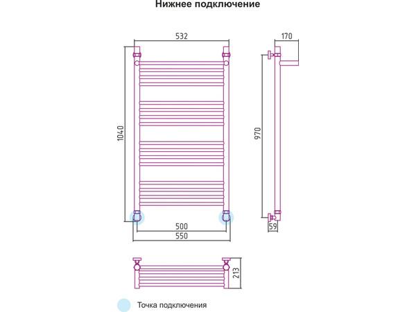 Водяной полотенцесушитель Сунержа Богема с полкой 1000х500 (схема)