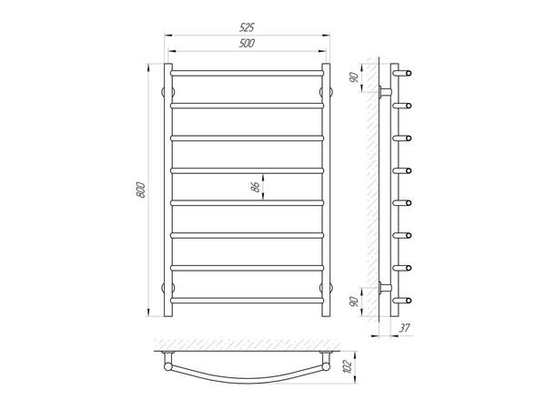 Электрический полотенцесушитель Aquanerzh дуга белый 124 Вт 800x500