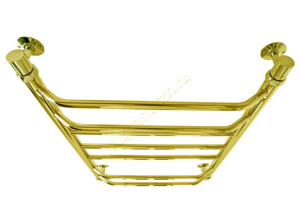 Электрический полотенцесушитель Aquanerzh трапеция прямая золото (вид сверху)