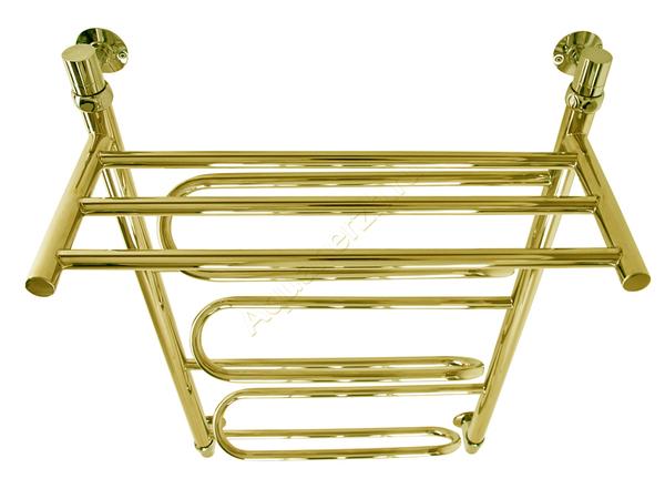 Электрический полотенцесушитель Aquanerzh зиг-заг с полкой золото (вид сверху)