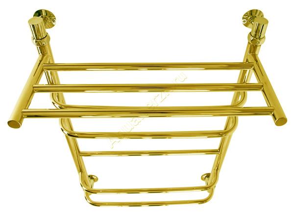 Электрический полотенцесушитель Aquanerzh скоба прямая с полкой золото (вид сверху)