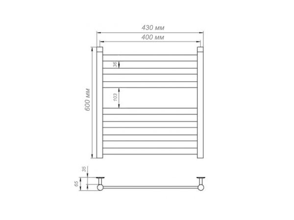 Электрический полотенцесушитель Aquanerzh Квадро 85 Вт 600x400