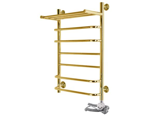 Электрический полотенцесушитель Aquanerzh скоба прямая с полкой золото