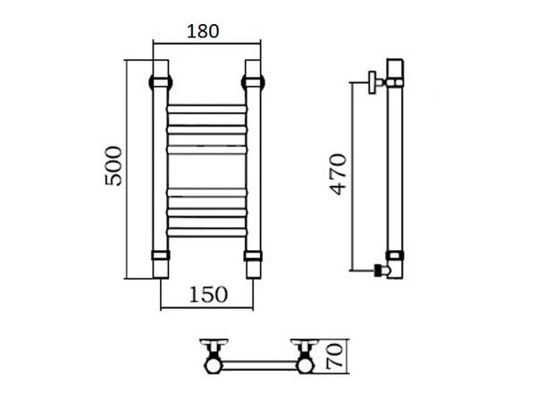 Водяной полотенцесушитель Aquanerzh Прямая групповая 500x150 бронза (техническое)