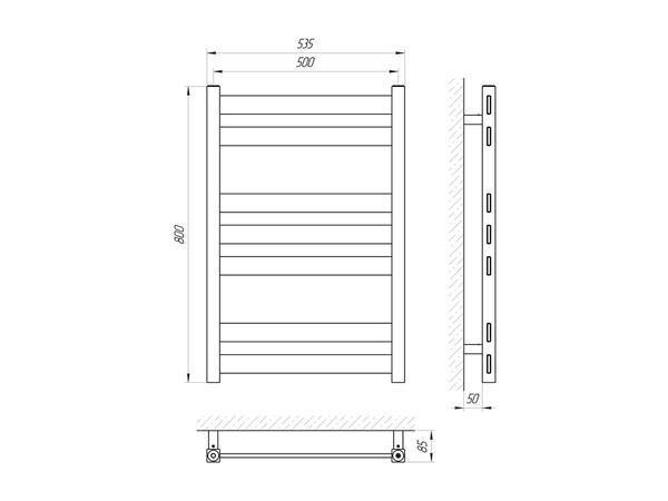 Водяной полотенцесушитель Акванерж Квадро Прямая 800x500 (схема)