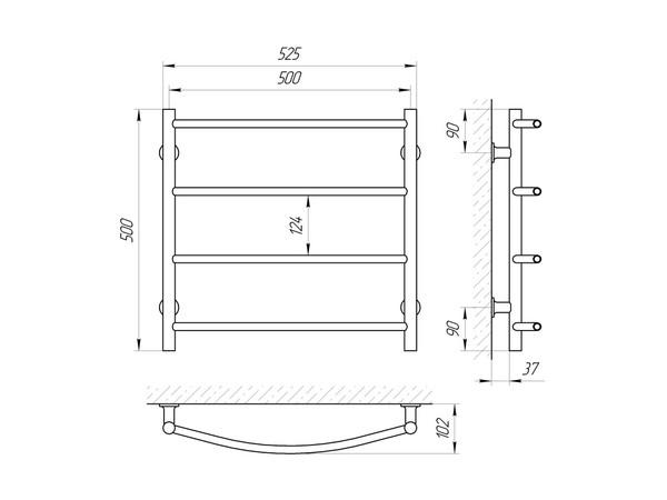 Электрический полотенцесушитель Aquanerzh дуга белый 66 Вт 500x500