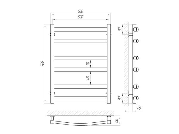 Электрический полотенцесушитель Aquanerzh модерн дуга белый 106 Вт 700x500