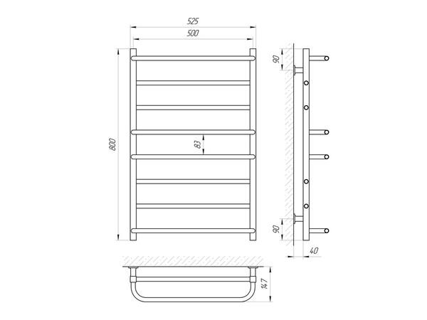 Электрический полотенцесушитель Aquanerzh скоба прямая белый 137 Вт 800x500