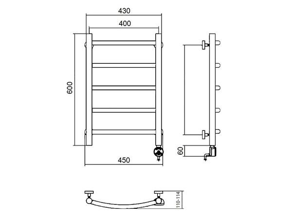 Электрический полотенцесушитель Акванерж дуга 600x400 (схема)