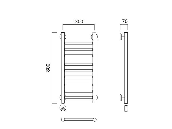 Электрический полотенцесушитель Aquanerzh прямая групповая (правое подключение)