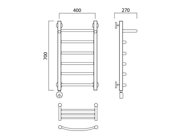 Электрический полотенцесушитель Акванерж дуга с полкой 700x400 (схема)