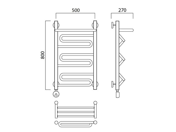 Электрический полотенцесушитель Акванерж зиг-заг с полкой 800x500(схема)