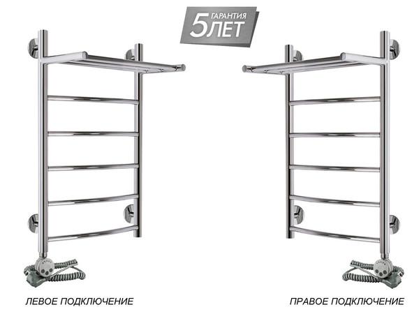 Электрический полотенцесушитель Акванерж дуга с полкой 700x400 (подключение)