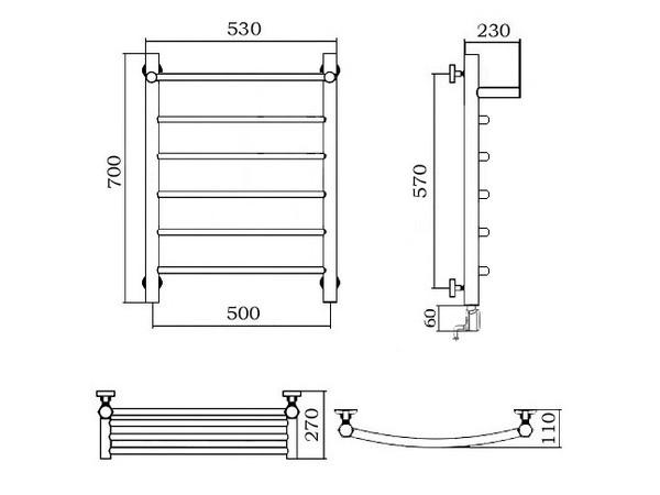 Электрический полотенцесушитель Акванерж дуга с полкой 700x500 (схема)
