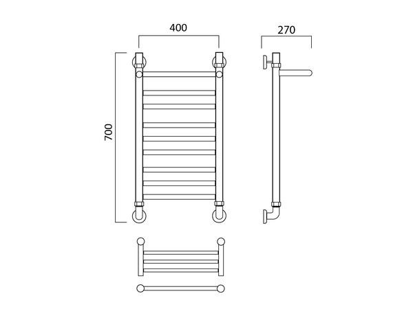 Водяной полотенцесушитель Акванерж Прямая групповая с полкой 700x400 (техническая схема)