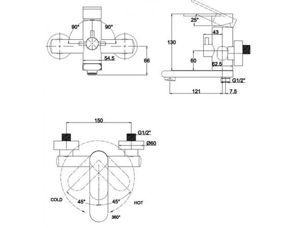 Смеситель для ванны с душем Kaiser Arena 33022 (схема)