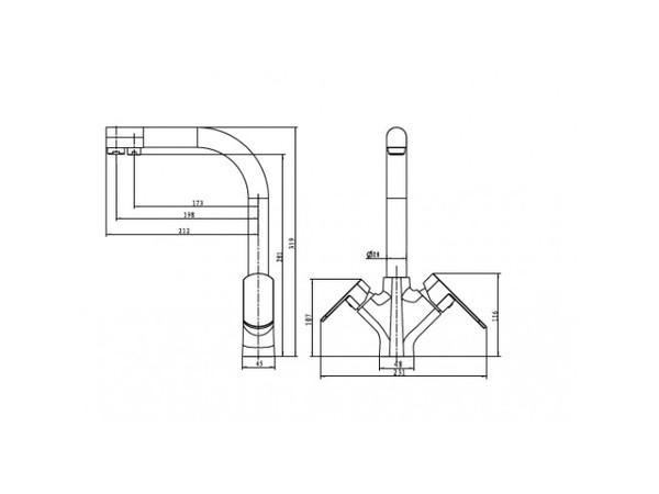 Смеситель для кухни под фильтр Kaiser Arena 33066 (схема)