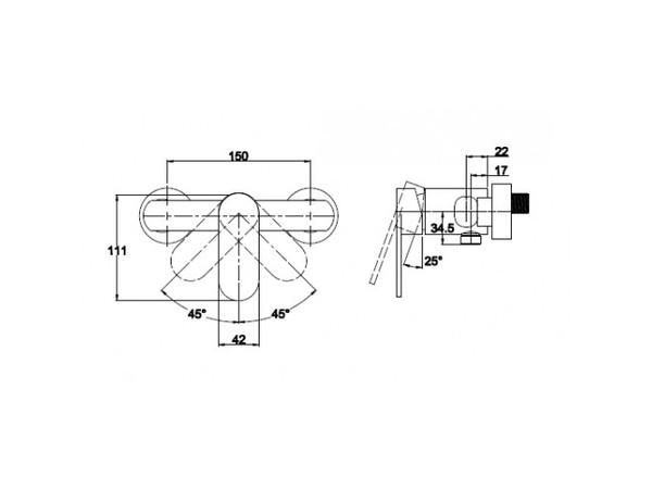 Смеситель для душевой кабины с душем Kaiser Arena 33077 (схема)