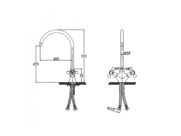 Смеситель для кухни Kaiser Carlson 11053 (схема)
