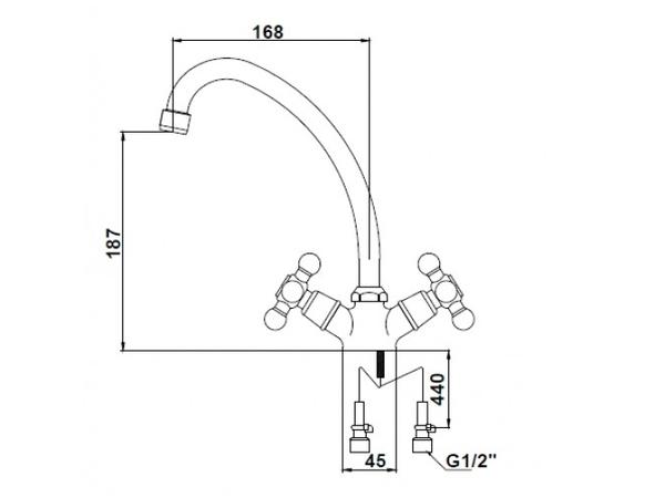 Смеситель для кухни Kaiser Carlson Lux 11062 (схема)