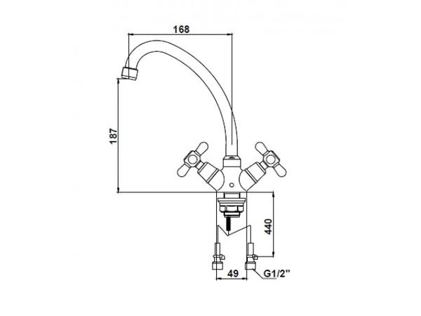Смеситель для кухни Kaiser Carlson Style 11143 (схема)