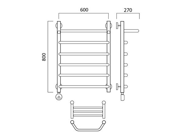 Электрический полотенцесушитель Акванерж трапеция с полкой 800x600 (схема)