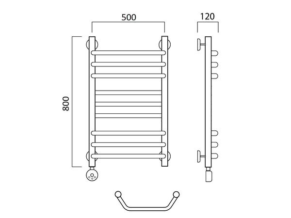 Электрический полотенцесушитель Акванерж Трапеция прямая групповая 800x500 (схема)