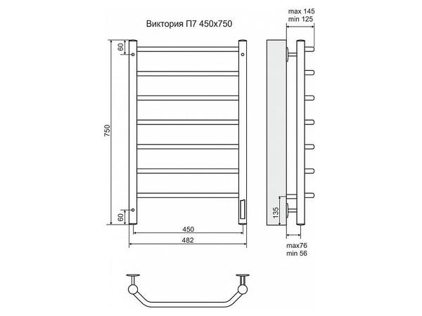 Электрический полотенцесушитель Terminus Виктория 750x450 (схема)
