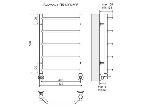 Водяной полотенцесушитель Terminus Виктория 600x400 (схема)