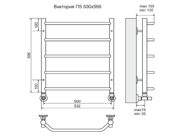 Водяной полотенцесушитель Terminus Виктория 600x500 (схема)