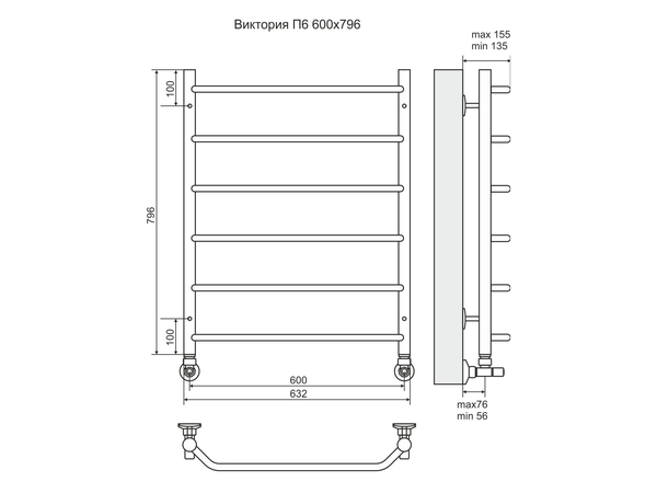 Водяной полотенцесушитель Terminus Виктория 800x600 (схема)