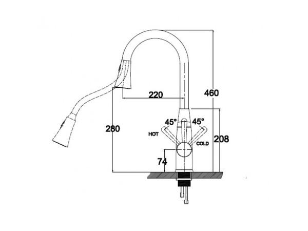 Смеситель для кухни Kaiser Merkur 26144 (схема)