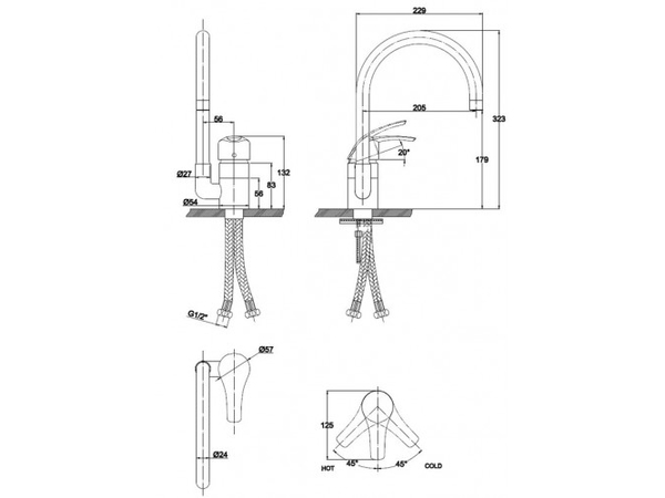 Смеситель для кухни Kaiser Nova 23044-9 (схема)