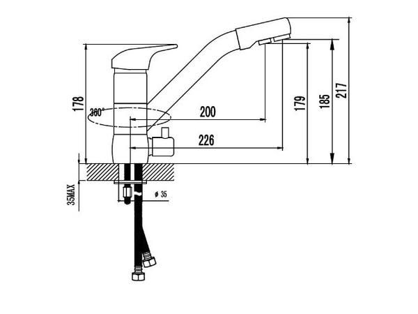 Смеситель для кухни под фильтр Kaiser Safira 15066-3 (схема)