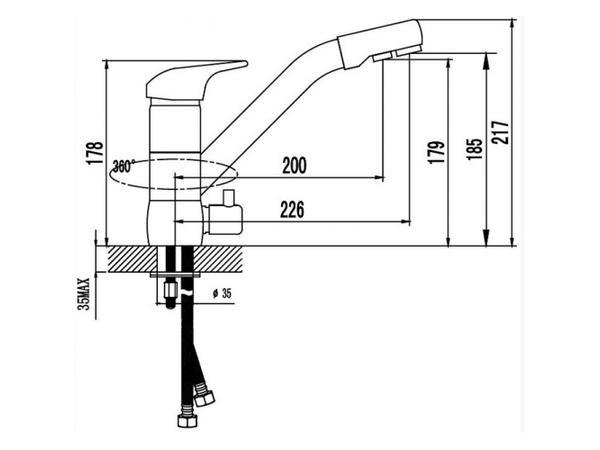 Смеситель для кухни под фильтр Kaiser Safira 15066 (схема)