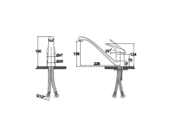 Смеситель для кухни под фильтр Kaiser Douglas 12533 (схема)