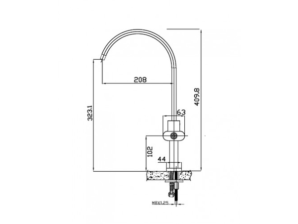 Смеситель для кухни Kaiser Elite 2070055 (схема)