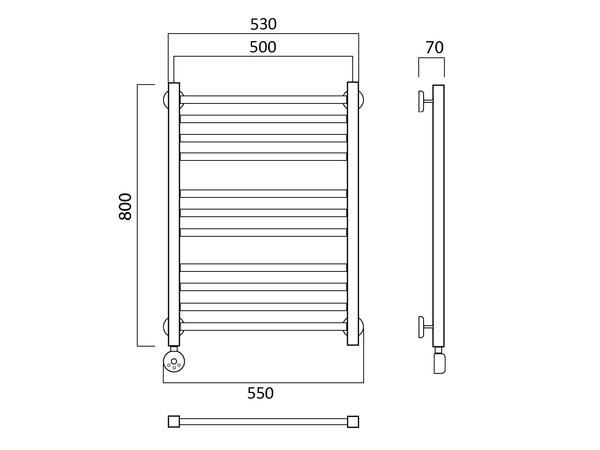 Электрический полотенцесушитель Акванерж Квадро классик 800x500 (схема)