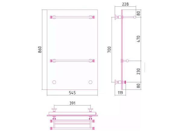 Фото 4746: Электрический полотенцесушитель Сунержа Стратум 860x545 тип 2