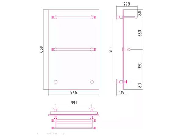 Фото 2812: Электрический полотенцесушитель Сунержа Стратум 860x545 тип 3