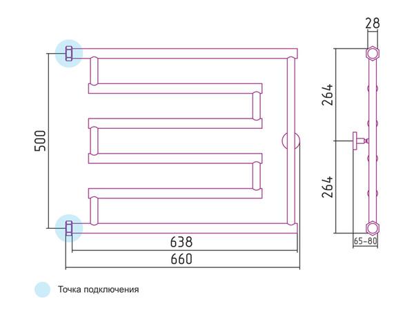 Фото 2524: Водяной полотенцесушитель Сунержа High-Tech model L 500x650